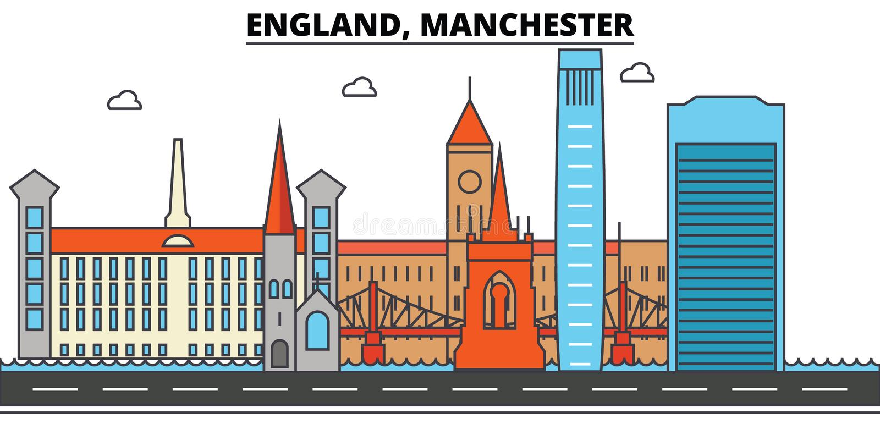 Engeland, Manchester De architectuur Editable van de stadshorizon royalty-vrije illustratie