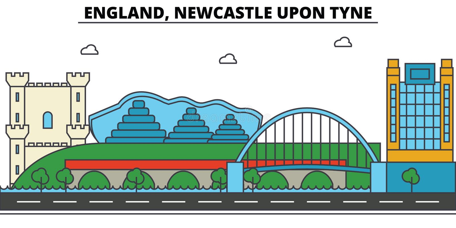 Engeland, Newcastle op de Tyne De architectuur van de stadshorizon stock illustratie