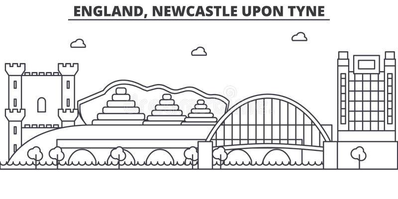 Engeland, Newcastle op de Tyne-de horizonillustratie van de architectuurlijn Lineaire vectorcityscape met beroemde oriëntatiepunt royalty-vrije illustratie