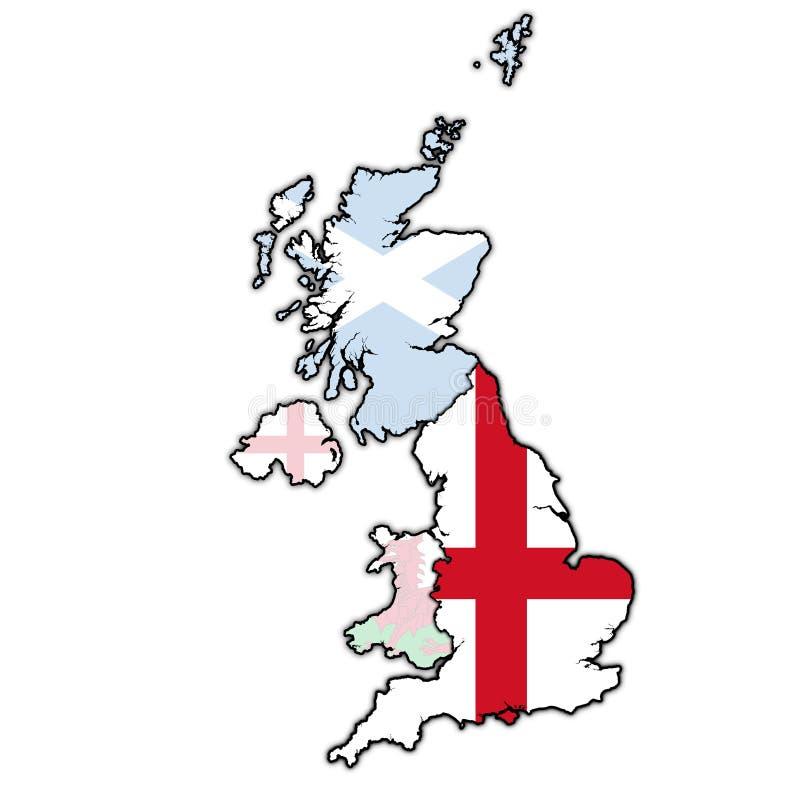 Engeland op de politieke kaart van het verenigd koninkrijk royalty-vrije illustratie