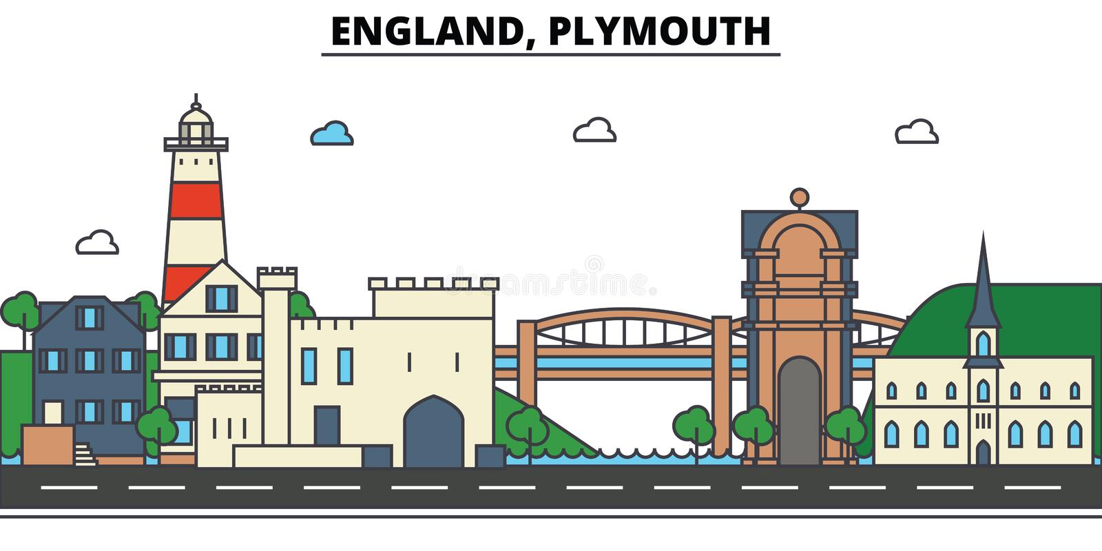 Engeland, Plymouth De architectuur van de stadshorizon editable stock illustratie