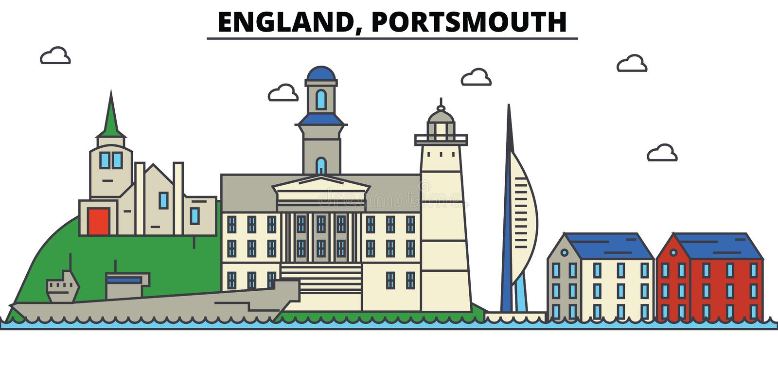 Engeland, Portsmouth De architectuur Editable van de stadshorizon stock illustratie