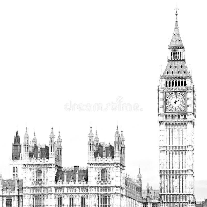 Engeland verouderde stad in Londen de Big Ben en historische oude construc royalty-vrije stock foto's