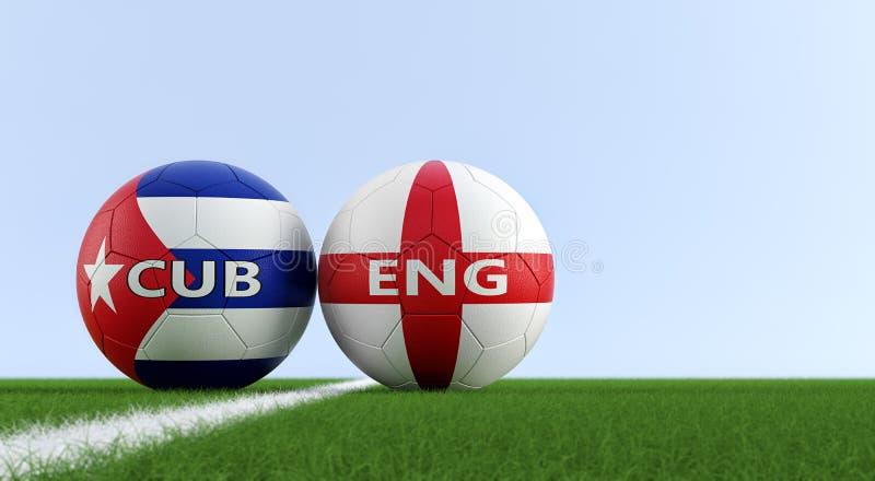 Engeland versus Het Voetbalgelijke van Cuba - Voetbalballen in de nationale kleuren van Engeland en van Cuba op een voetbalgebied stock illustratie