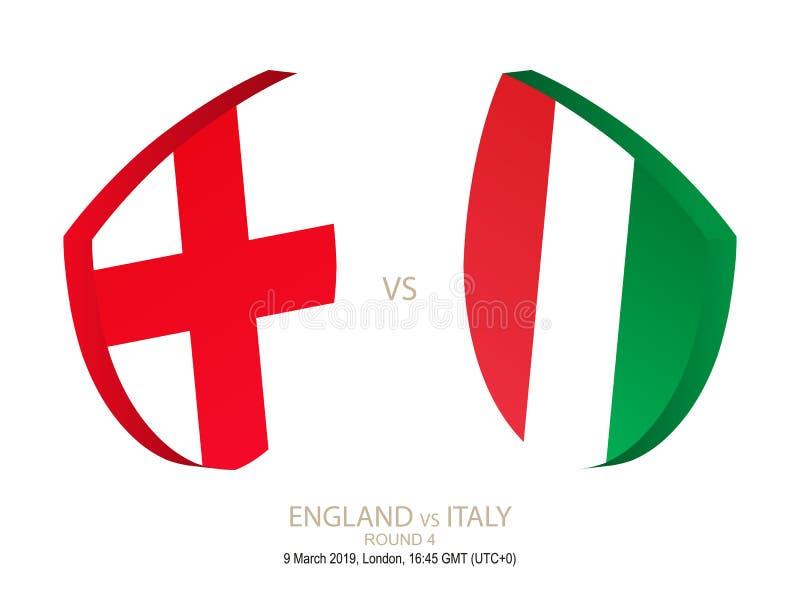 Engeland versus Italië, Rugby Zes van 2019 Natieskampioenschap, om 4 vector illustratie