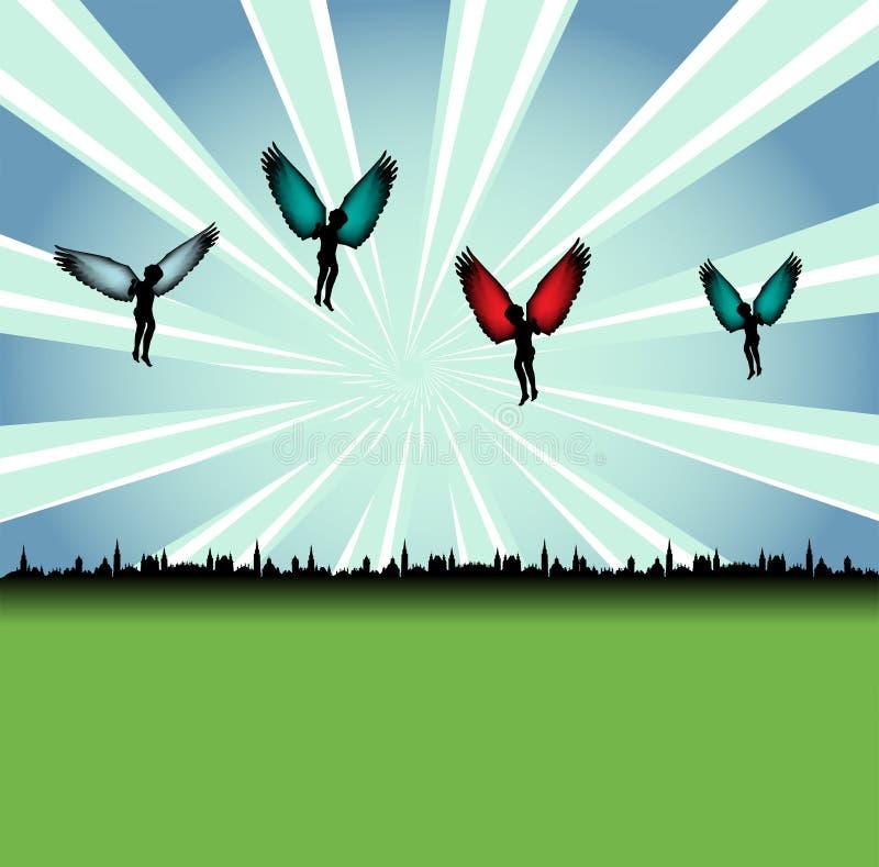 Engelen boven de stad royalty-vrije illustratie