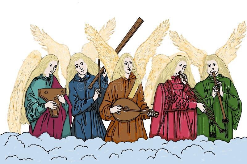 Engelen die muzikale instrumenten spelen Kerstmis vector illustratie