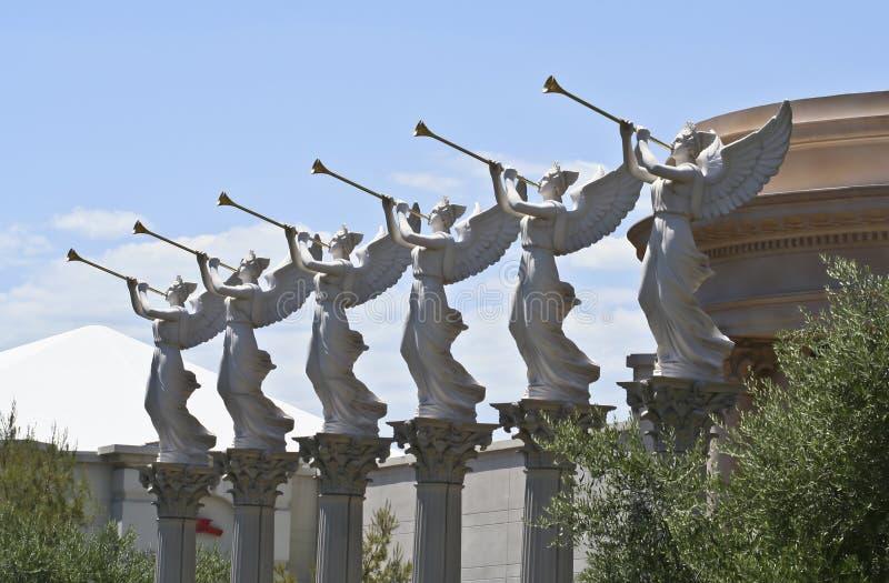 Engelen die Trompetten, Caesars Palace blazen royalty-vrije stock fotografie