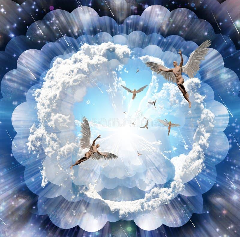 Engelen komst royalty-vrije illustratie