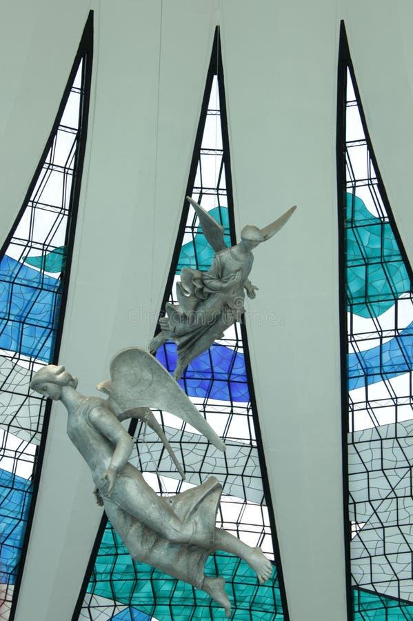 Engelen - Metropolitaanse Kathedraal van Brasilia stock foto