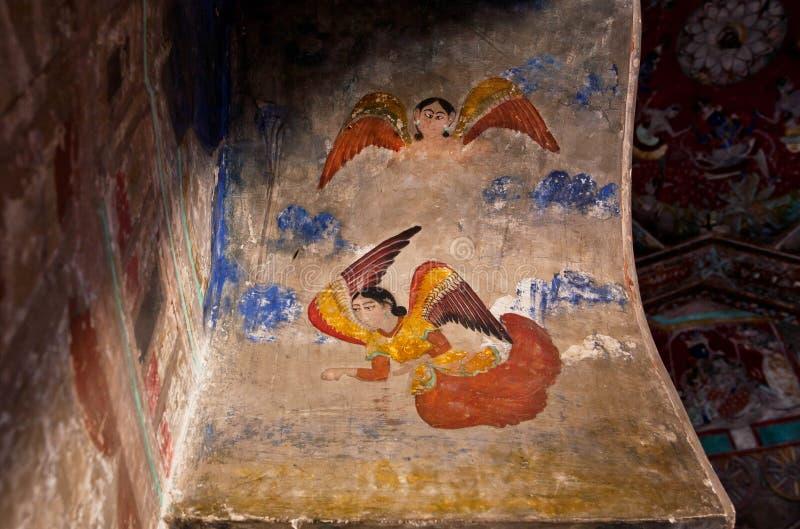 Engelen op de fresko van 17de eeuw royalty-vrije stock afbeelding