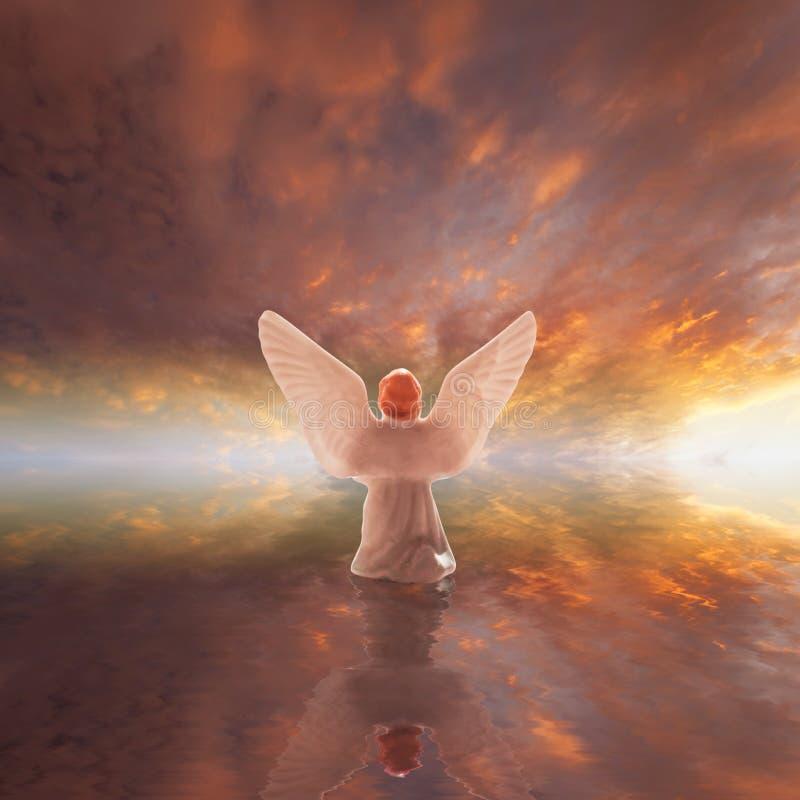 Engelen worshiping God royalty-vrije stock afbeeldingen