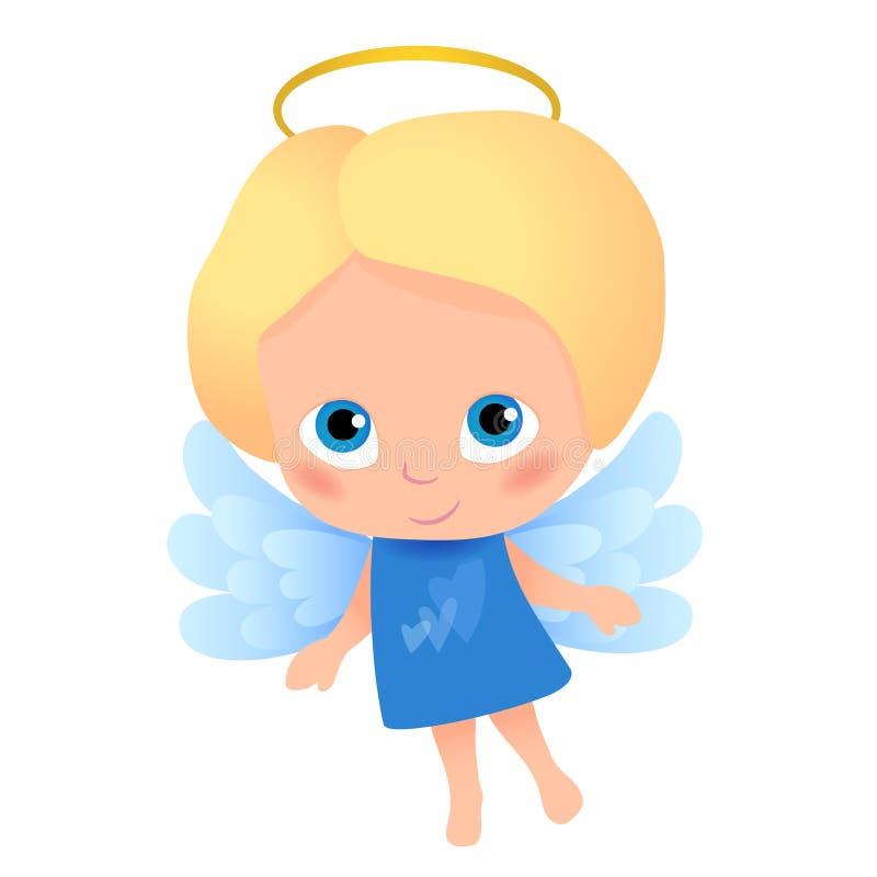 Engelenbeeldverhaal met blondehaar en blauwe ogen stock illustratie