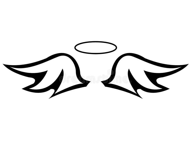 Engelenvleugels en een halo stock afbeelding