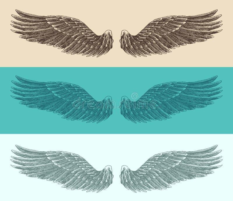Engelenvleugels geplaatst illustratie, gegraveerde stijl, getrokken hand stock illustratie