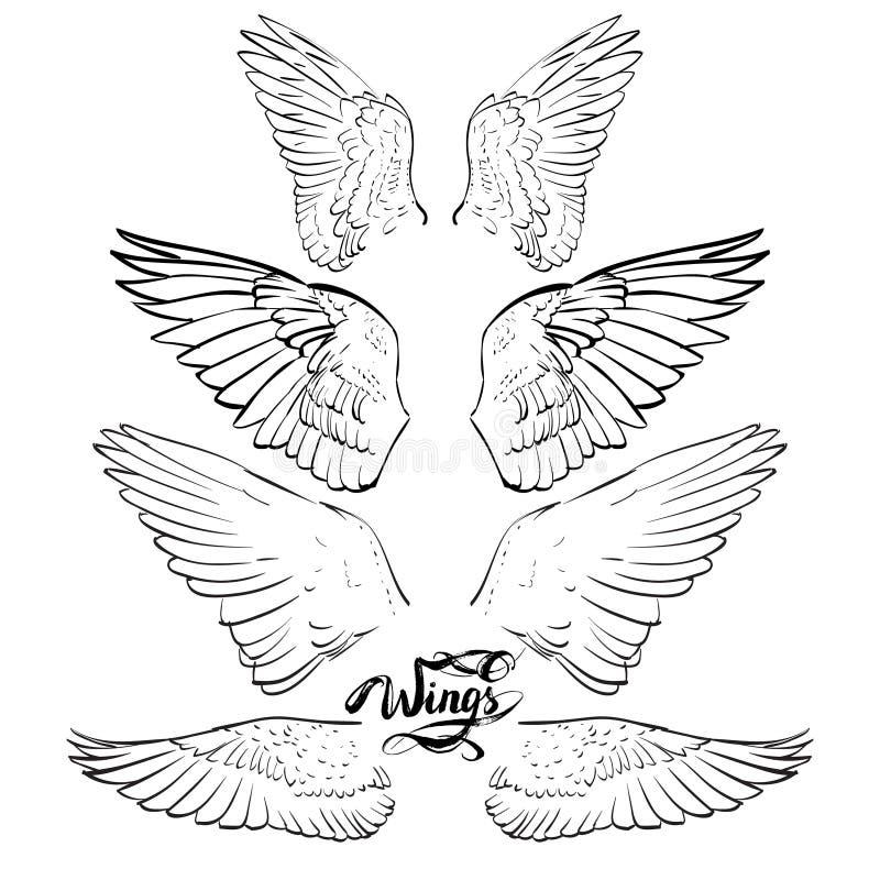 engelenvleugels, het van letters voorzien, die vector trekken royalty-vrije illustratie