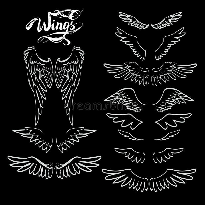 engelenvleugels, het van letters voorzien, het trekken royalty-vrije illustratie