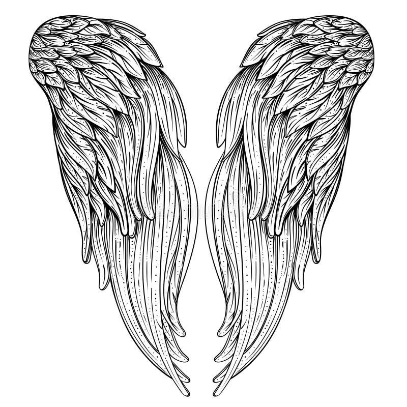 Engelenvleugels Sier barok stijlelement Vector illustratie Tatoegeringsmalplaatje In hand getrokken antieke symboolinzameling stock illustratie