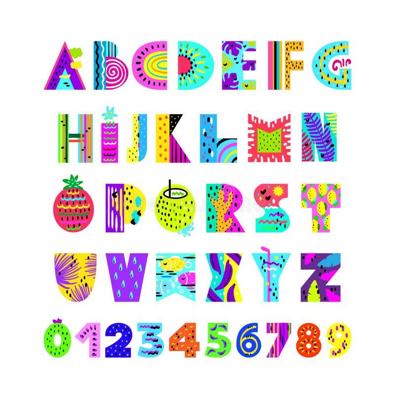 Engels alfabet in de zomerstijl stock illustratie