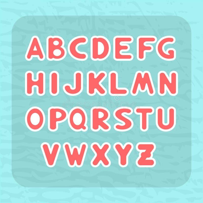 Engels alfabet met brieven om vorm in de vorm van kindstickers vector illustratie