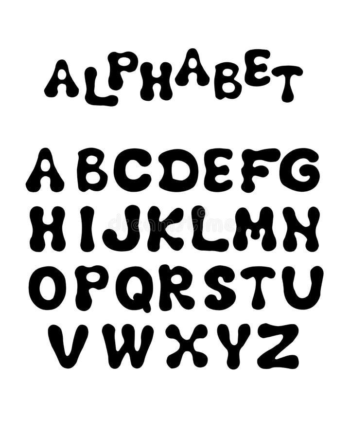 Engels alfabet met ronde letters Vectorillustratie Cartoon puffy font Instellen met handsymbolen voor het ontwerp van royalty-vrije illustratie