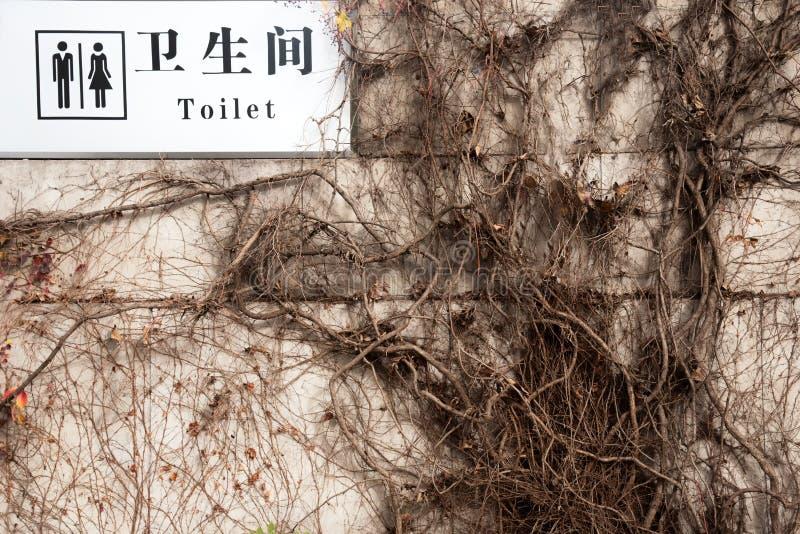 Engels en Chinees de taal lon wit teken van toilettenwoorden hangin stock afbeeldingen