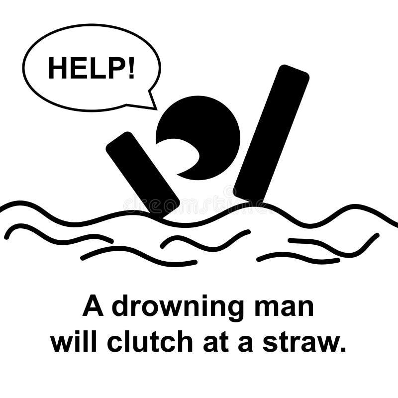 Engels gezegde: Een drenkeling zal koppeling bij een stro stock illustratie