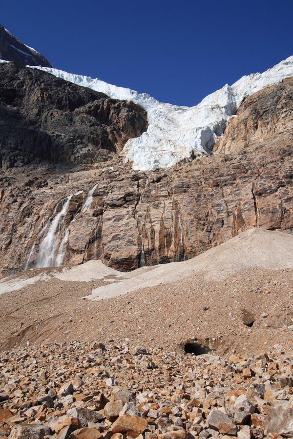 Engels-Gletscher und Felsen unten stockfotografie