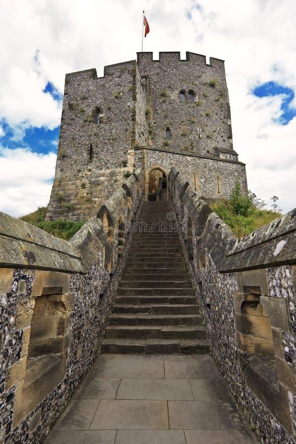 Engels middeleeuws kasteel van Arundel de zetel van de Hertogen van Norfolk. Oud steenvestingwerk van middenleeftijden (het UK) royalty-vrije stock foto's
