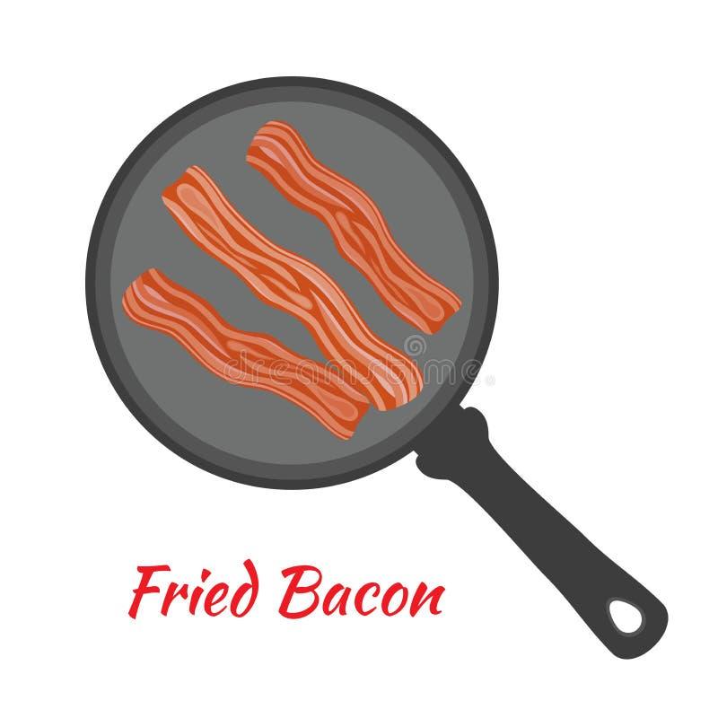 Engels ontbijt - gebraden bacon op pan Beeldverhaal vlakke stijl Vector illustratie vector illustratie