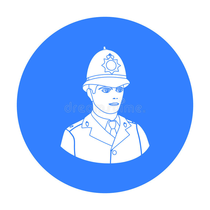 Engels politieagentpictogram in zwarte die stijl op witte achtergrond wordt geïsoleerd Van de het symboolvoorraad van het land va stock illustratie