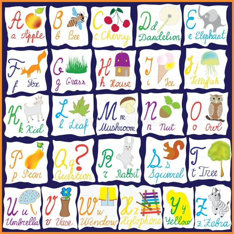 Engels regenboogalfabet met beelden vector illustratie