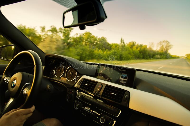 Modern car on the road royalty free stock photography