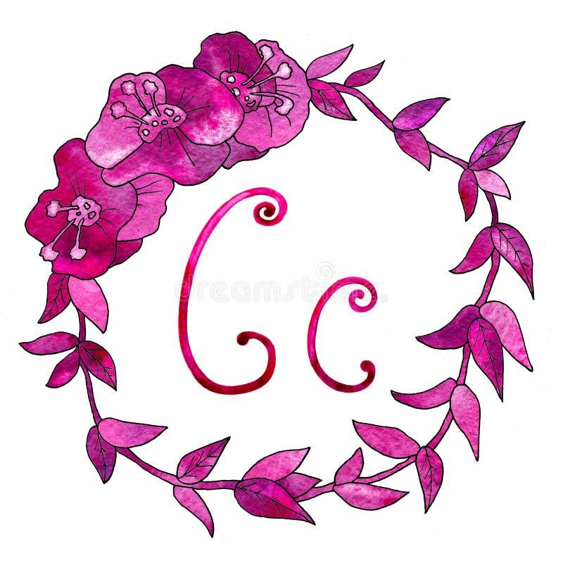 Engelse alfabetbrief C, die op een witte achtergrond, in een elegant met de hand geschreven kader wordt geïsoleerd, De tekening v vector illustratie