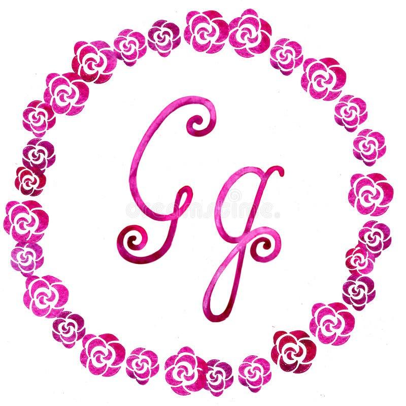 Engelse alfabetbrief G, die op een witte achtergrond, in een elegant met de hand geschreven kader wordt geïsoleerd, De tekening v vector illustratie