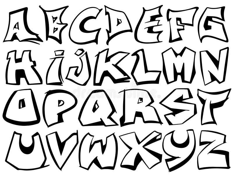 Engelse alfabetvector van A aan Z in graffiti zwart-witte stijl stock fotografie