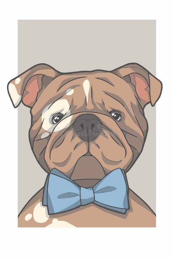 Engelse Buldoghond met de vectorafbeeldingenillustratie van het bowtieportret stock illustratie