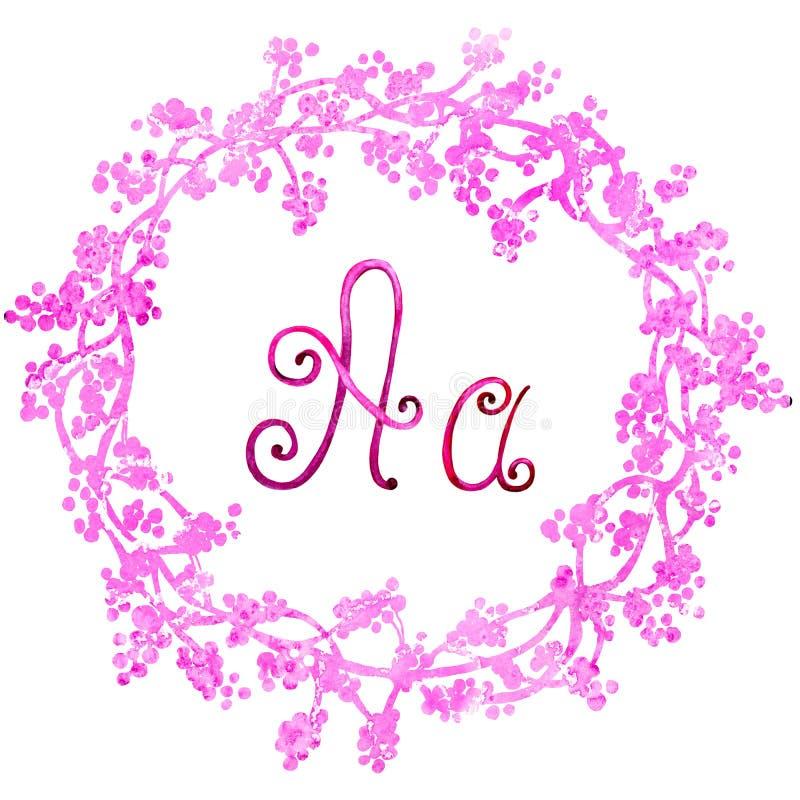 Engelse die alfabetbrief D, op een witte achtergrond, in een elegant met de hand geschreven kader wordt geïsoleerd, De tekening v stock illustratie