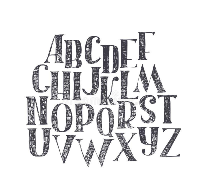 Engelse die hand abc van a aan z wordt getrokken De hoofddiedoopvont met bonen en serif, verfraaid broedselalfabet wordt gemaakt, vector illustratie