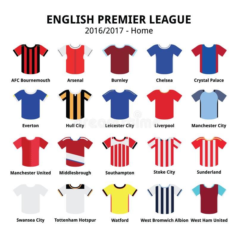 Engelse Eerste Liga de voetbal of het voetbal jerseys geplaatste pictogrammen van 2016 - van 2017 vector illustratie