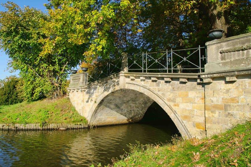 Engelse Gronden van Woerlitz wolfsbridge stock foto