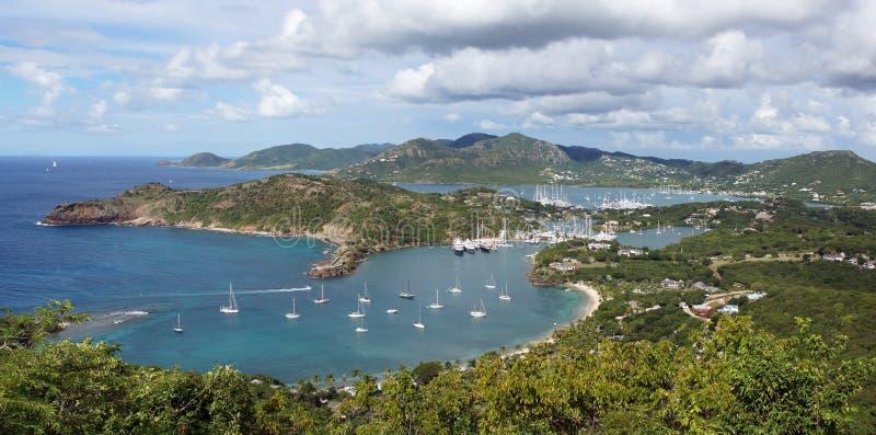 Engelse Haven en Nelsons-Werf, Antigua en Barbuda, Carib stock afbeeldingen