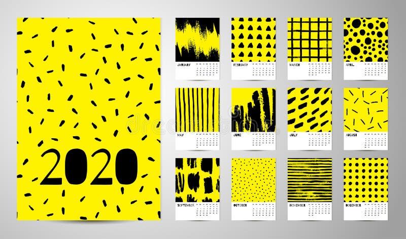 2020 Engelse Kalender Abstracte Vector royalty-vrije stock afbeelding