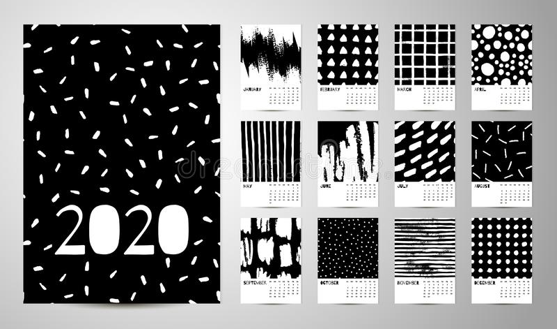 2020 Engelse Kalender Abstracte Vector royalty-vrije stock foto's