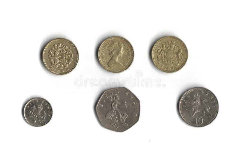 Engelse muntstukken stock afbeelding