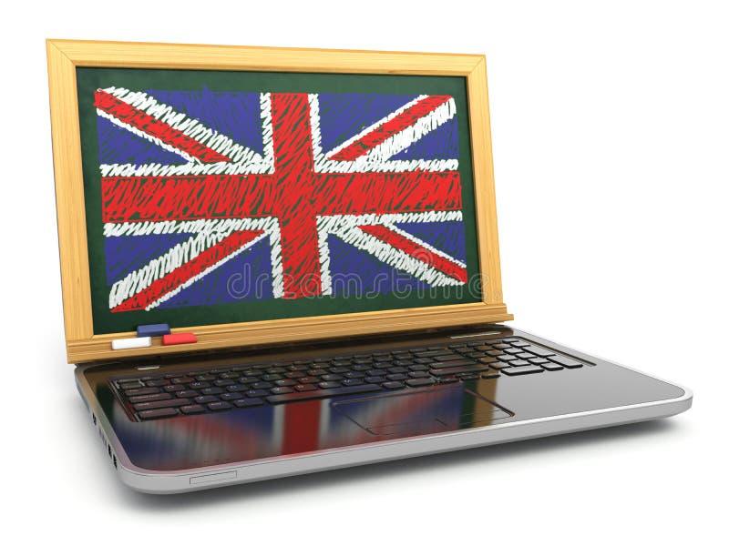 Engelse online E-leert Laptop en bord met Britse vlag stock illustratie