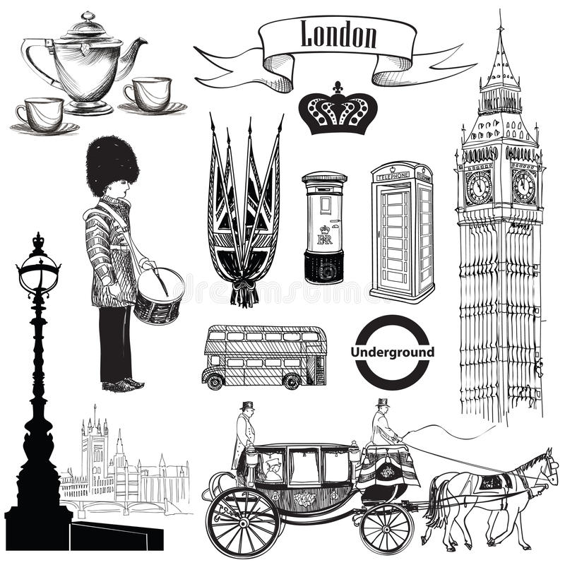 Engelse pictogramreeks De symbolen van Londen, Engeland, het UK, Europa De hand trekt vector illustratie