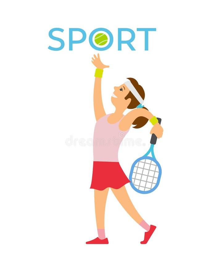 Engelse Sport, Tennisspeler die Balracket raken vector illustratie