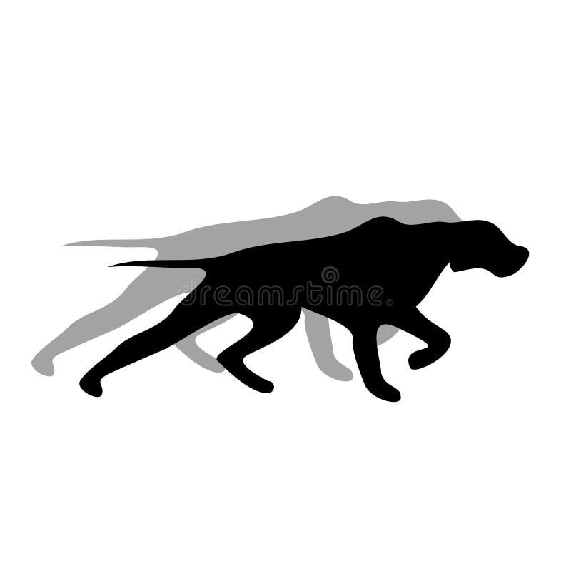Engelse zwarte het silhouetvector van de wijzerhond stock foto