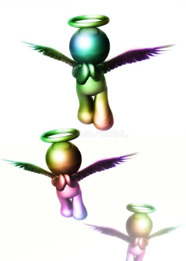 Engelsikonen, die zum Himmel fliegen lizenzfreie abbildung